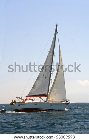 Turning sailing boat on the sea