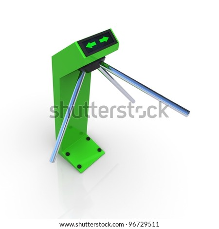 Turnstile green allowing the passage. 3D rendering