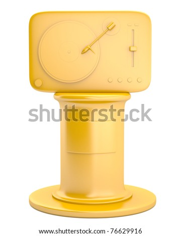 Turntable on golden pedestal isolated on white background