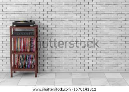 Turntable Vinyl Record Player, HIFI Stereo Mixer Amplifier and Syack of Old Vinyl Record Disk with Wooden Rack Storage Stand in front of brick wall. 3d Rendering