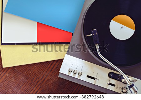 Turntable with blank record covers top view #382792648