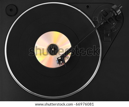 Turntable with colorful CD