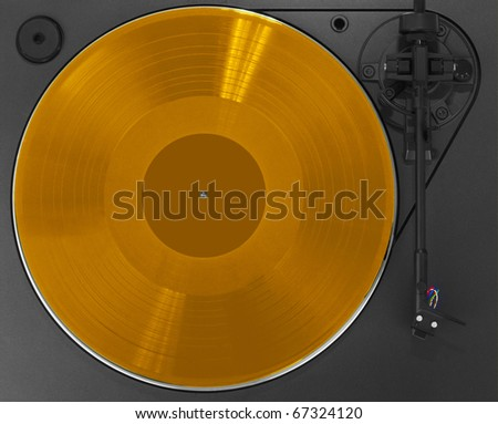 Turntable with gold record