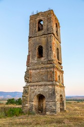 Turnul de pe deal, the tower on the hill, historical monument, Gradinari village, near Oravita city, Caras-Severin County, Romania, 300 years old, the remains of a former church