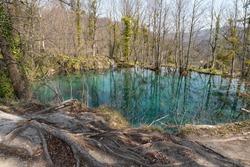 turqouise aquamarine lake waters in croatia
