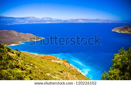 Turquise water of bay on Crete, Greece