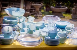 Turquoise and sapphire blue vintage tableware