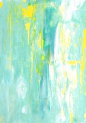 Turquoise and Yellow Abstract Art Painting