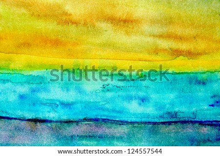 Turquoise and Yellow Watercolor 2