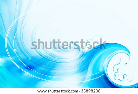 turquoise background with wave, water splash and water drops