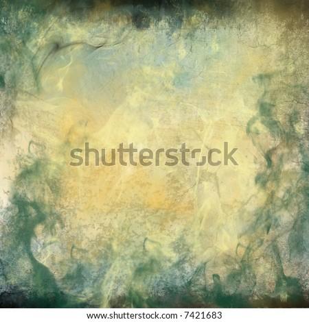 Turquoise Blue Gray Gold Grunge Background