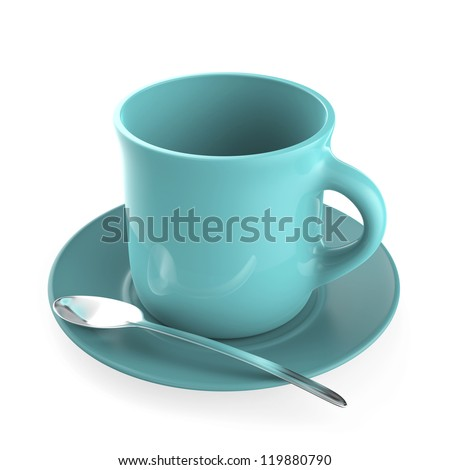 Turquoise coffee cup and metal spoon