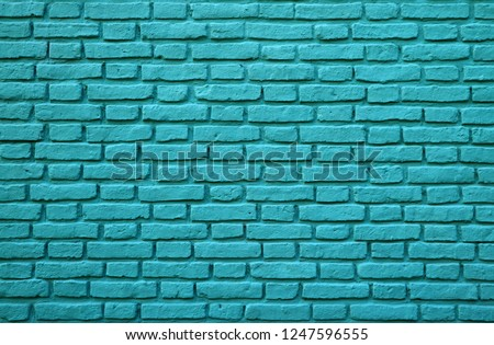 Turquoise Colored Brick Wall at La Boca in Buenos Aires of Argentina for Background, Texture or Pattern #1247596555