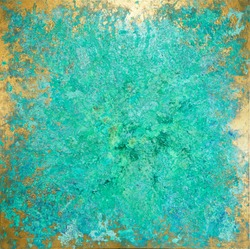 Turquoise copper texture green patina painting gold border