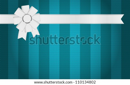 Turquoise fabric textured striped background with white ribbon and bow knot decoration - raster version