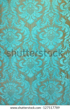 Turquoise fabric wallpaper