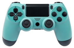 Turquoise gaming controller isolated on white background.