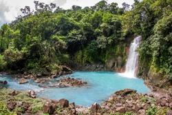 turquoise jungle river Rio Celeste in the Tenorio Volcano National Park in Costa Rica