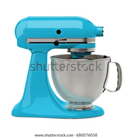 Turquoise kitchen or stand mixer with clipping path isolated on white background