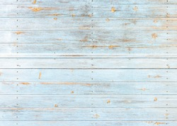 Turquoise light blue colored wood planks background texture.