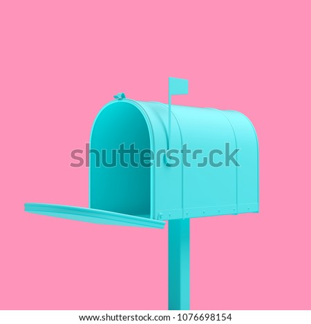 Turquoise mailbox isolated on pink background. Trendy fashion style. Minimal design art. 3d rendered illustration.