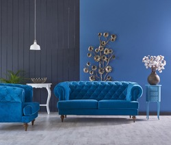 turquoise sofa classic living room decoration grey and blue wall horizontal banner with empty wooden floor interior style