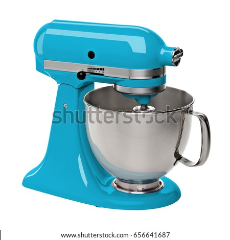 Turquoise stand / kitchen mixer isolated on white background including clipping path.