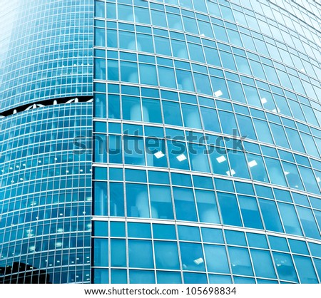 turquoise texture of glass high-rise building