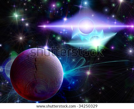 Turquoise-violet double flash near a planet