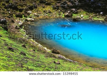 Turquoise volcanic lake, Iceland