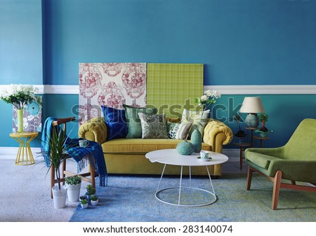 turquoise wall living room #283140074