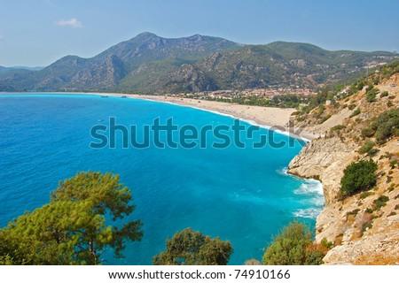 Turquoise water of beautiful bay in Oludeniz