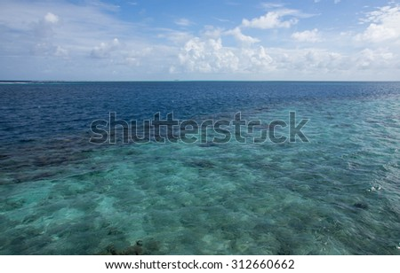 Turquoise water of the Indian Ocean and cloudy sky #312660662