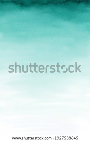 Turquoise Watercolor Ombre Background, Teal Watercolor Paper