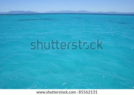 Turquoise waters of the Great Barrier Reef off the coast of Queensland Australia
