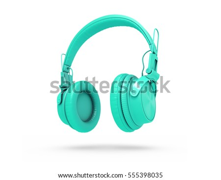 Turquoise wireless headphones isolated on white background with shadow. 3d Rendering