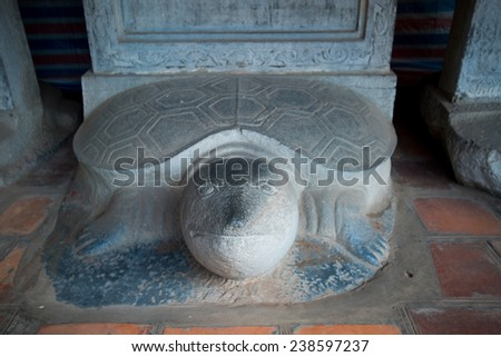 Turtle stone steles, bearing the names of Doctoral laureates of the Temple of Literature between 1142 and 1778 in Vietnam at Van Mieu - Quoc Tu Giam (Temple of Literature) in Hanoi.