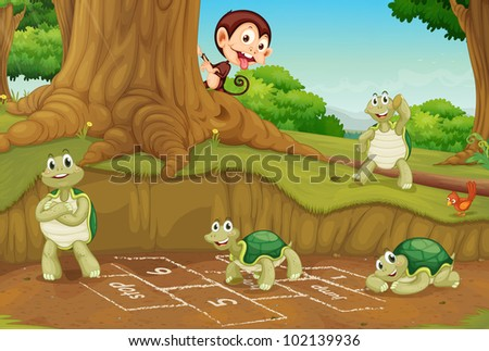 Turtles playing hopscotch on white - EPS VECTOR format also available in my portfolio.