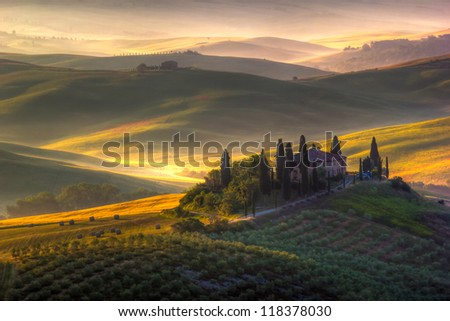 Tuscan Farmhouse and landscape, Italy