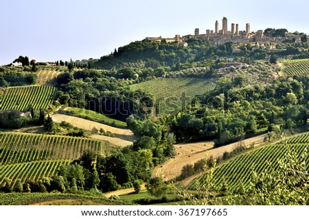 Tuscan landscape with vine yards and fields on hills crowned by the skyline of San Gimignano, Tuscany, Italy