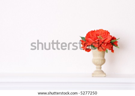 Tuscan Style Vase with Orange Decorative Flowers
