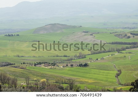 Tuscany amazing landscape. typical view for the region tuscan countryside farm house, green field hills, vineyard, cypresses trees in day sun lights.    #706491439