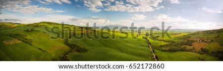 Tuscany countryside hills, stunning aerial view in spring.