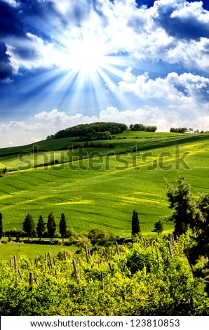 Tuscany Hills and Countryside in Chianti region, Italy - stock photo
