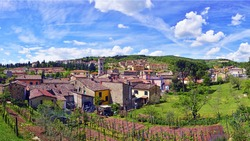 Tuscany, Italy - A view of the village of Gaiole in Chianti, in the world famous Chianti Classico wine making region.