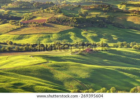 tuscany landscape on evening lighting view from montepulcciano