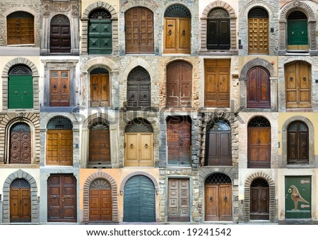 Tuscany old elegant obsolete vintage doors entrance collection