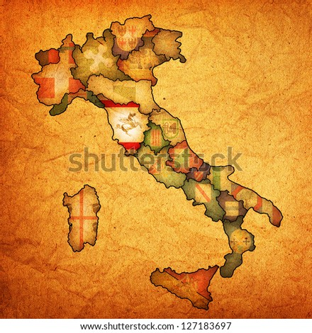 tuscany region on administration map of italy with flags