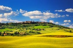 Tuscany spring, Pienza italian medieval village. Siena, Italy.
