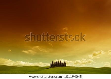 tuscany sunset - stock photo